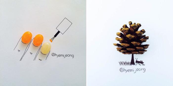 Милые и наивные зарисовки Hyemi Jeong.