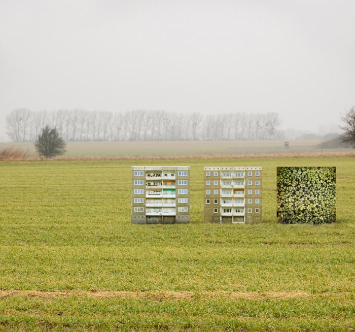 Коллажи состоят из фотографий настоящих домов, находящихся в Восточной Германии.