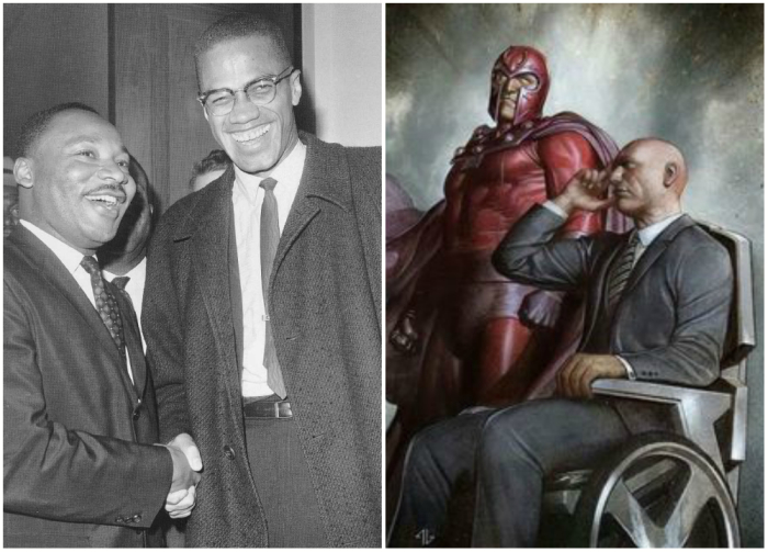 Магнето и Профессор Икс (Magneto and Professor X) срисованы с Малкольма Икса (Malcolm X) и Мартина Лютера Кинга, младшего (Martin Luther King, Jr).