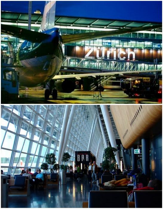 Международный аэропорт Цюриха предоставляет туристам множество комфортабельных мест для отдыха.