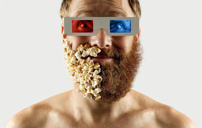 Попкорн вместо бороды, для настоящего киномана.