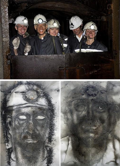 Шахтеры и художник Cai Guo-Qiang. *1040 m underground*