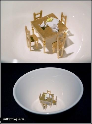 Мини-скульптуры из зубочисток и папиросной бумаги