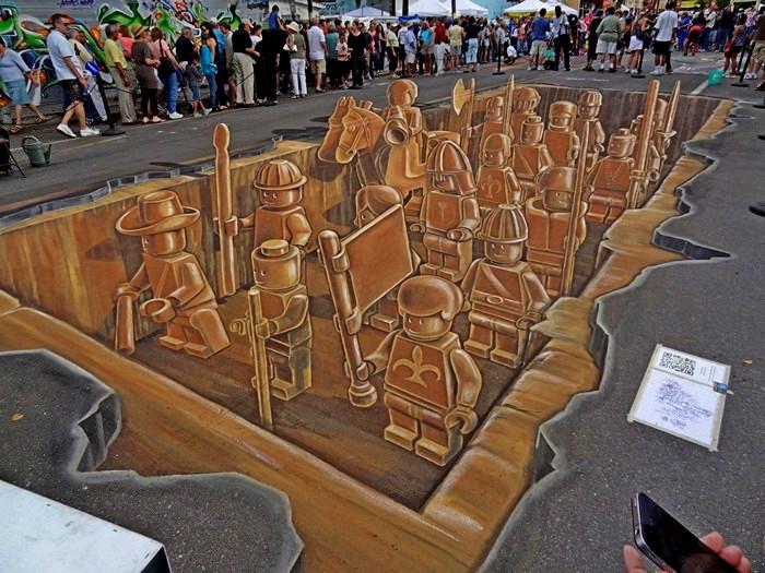 Terracotta Lego army, трехмерный рисунок на асфальте от Planet Streetpainting