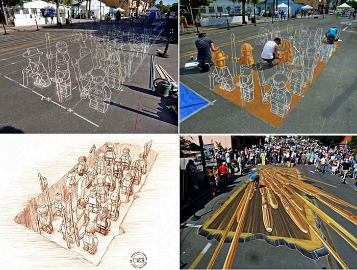 Terracotta Lego army, объемный стрит-арт по мотивам исторического факта
