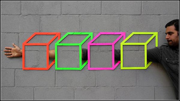 Разноцветные кубики из скотча и немного фотошопа. Стрит-арт от Аакаш Нихалани (Aakash Nihalani)