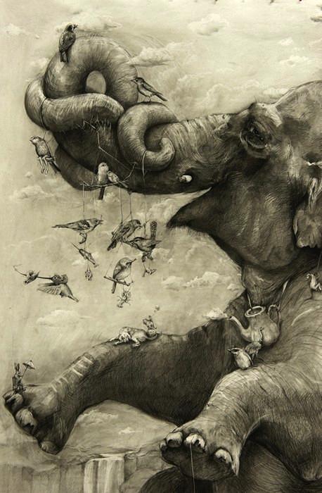 Elephants: гигантская фреска Адонна Харе (Adonna Khare), нарисованная простым карандашом