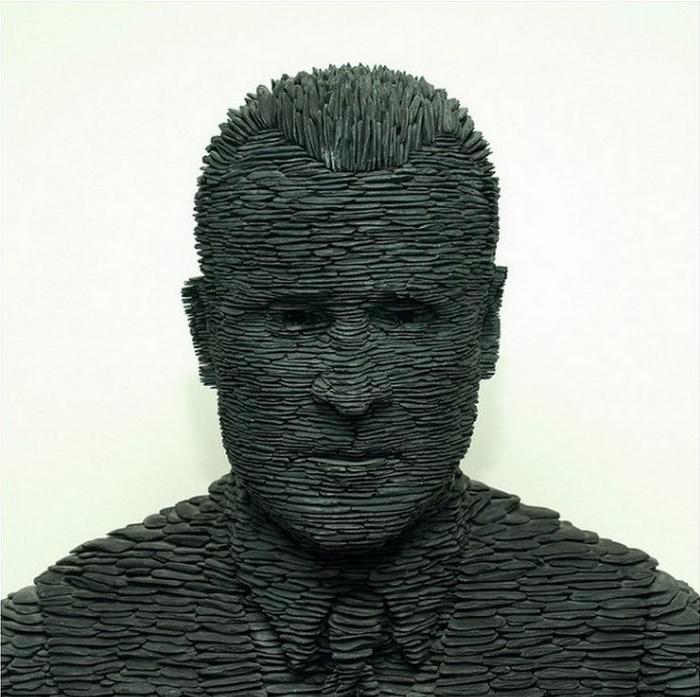 Необычные скульптуры из кусочков сланца. Работы Стивена Кеттла