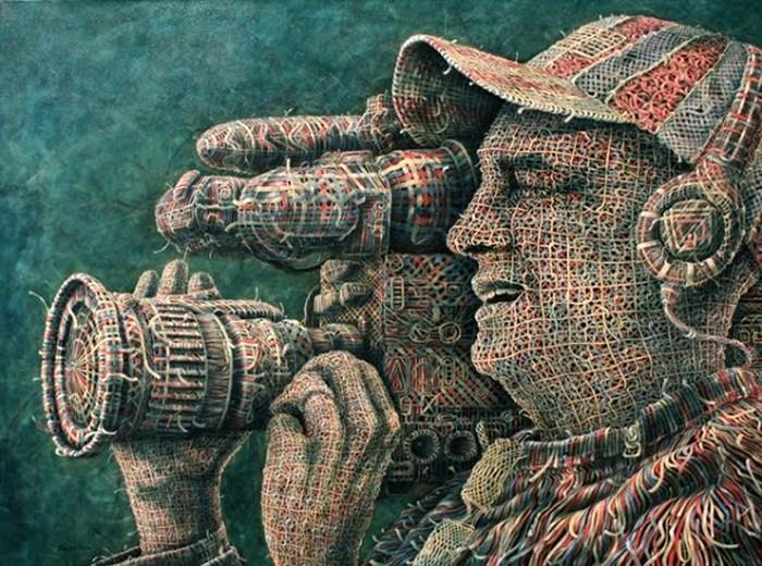 Рисованные-плетеные картины