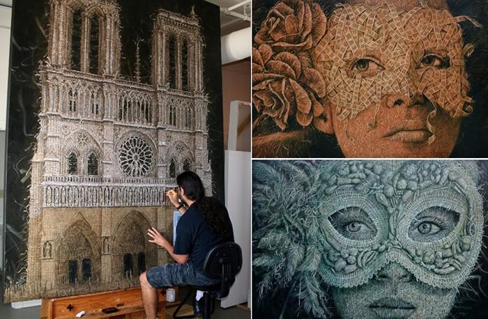 Кубинский художник Алекси Торрес рисует плетеные картины