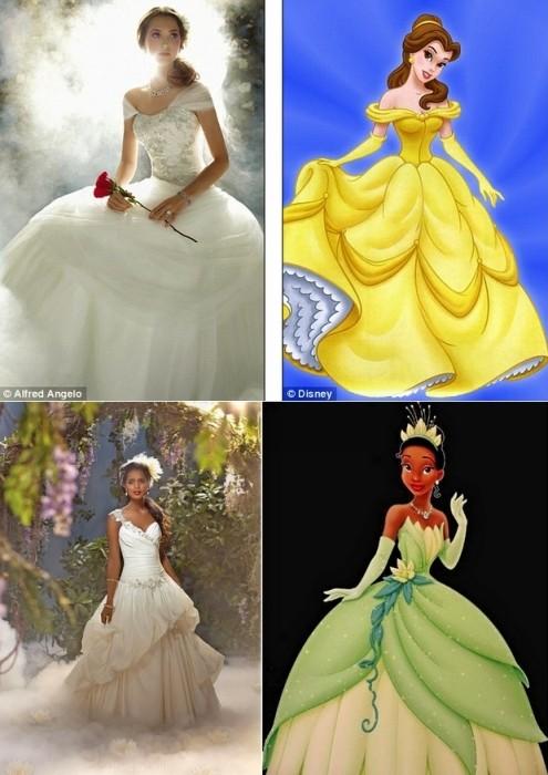 Свадебные наряды Белль и темнокожей красавицы Тианы