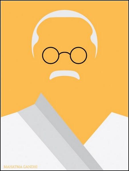 Минималистичный, но узнаваемый Махатма Ганди
