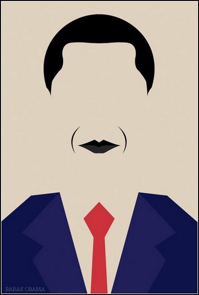 Барак Обама, узнаваемый образ из серии принтов Simple Public Figures