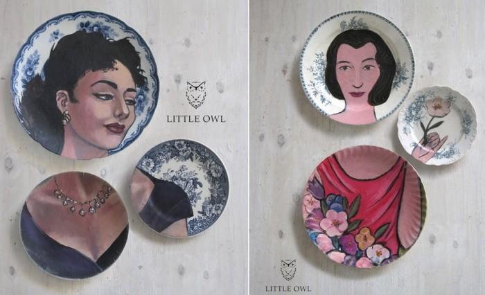 Картины на фарфоровых тарелках, Altered Perspectives от Little Owl Design