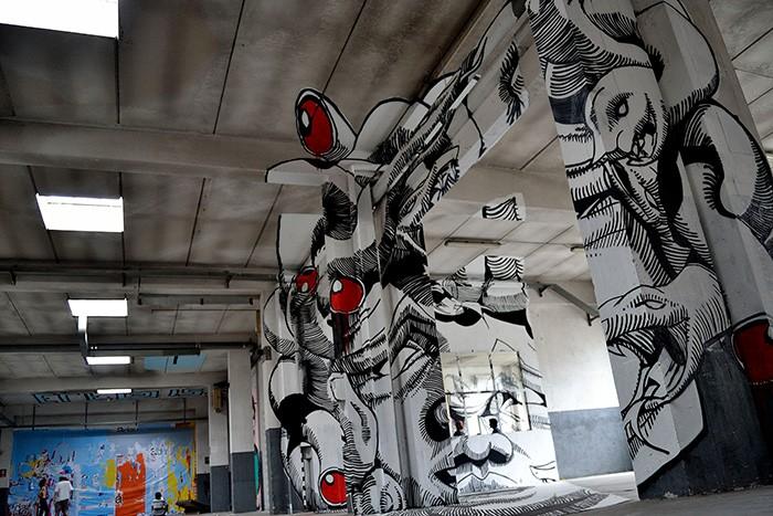 Граффити-иллюзия Medusa. Образец анаморфного творчества