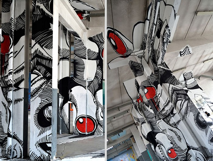 Анаморфное творчество. Граффити-иллюзия Medusa от студии Truly Design