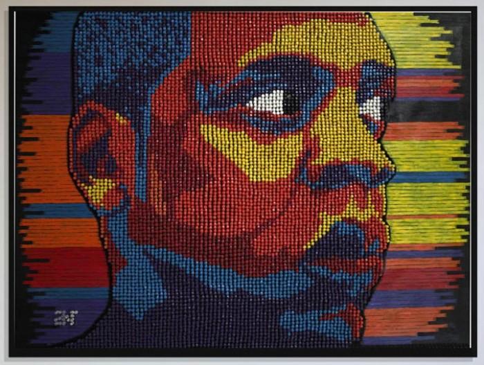 Портреты чернокожих знаменитостей из чертежных кнопок