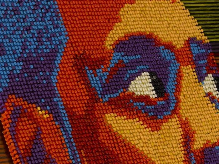 Чернокожие знаментости в картинах из кнопок от Andrew Woolery