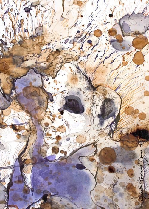 Апофения. Картины Анджелы Отто на основе пятен от кофе, чая, сока и других напитков