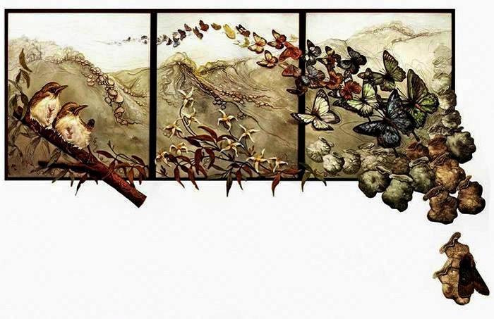 Вышивка, аппликация, живопись. Объемные картины из текстиля от Аннемиеке Мейн (Annemieke Mein)
