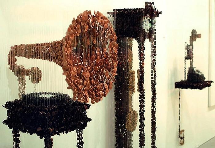 Мебель из пуговиц от Augusto Esquivel