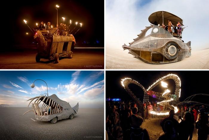 Диковинные автомобили также являются неотъемлемой частью фестиваля Burning Man