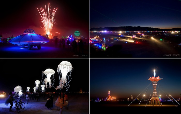 Ночью территория фестиваля Burning Man выглядит особенно живописной и даже волшебной