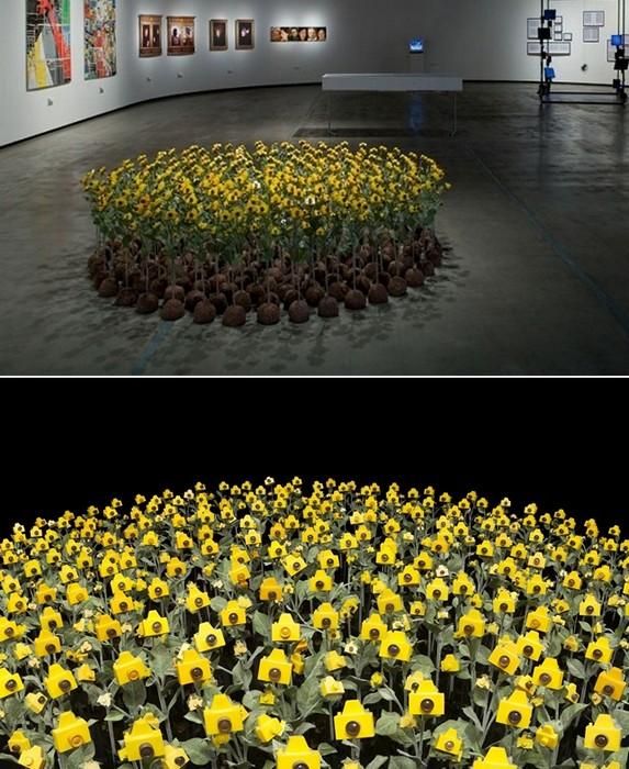 Клумбы с фотоаппаратами. Инсталляция Camera Flowers от Andre Feliciano