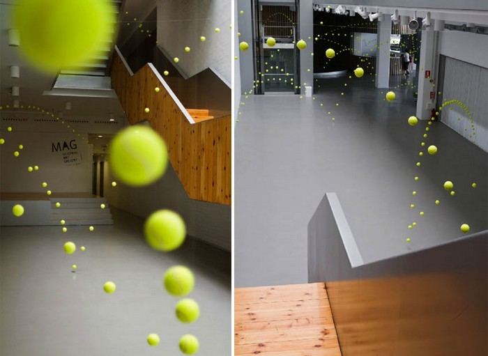 2000 прыгающих мячей в инсталляции Causa-Efecto художницы Аны Солер (Ana Soler)