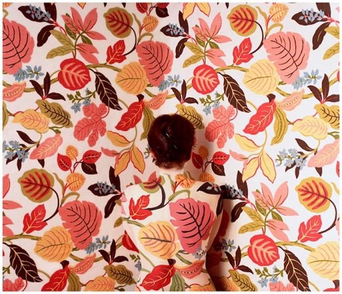 Цветочный орнамент в качестве камуфляжа. Необычный бодиарт от Cecilia Paredes