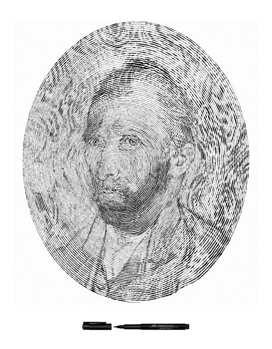 Спиральные иллюстрации как реклама канцелярии от Faber Castell