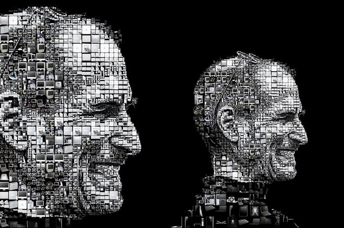 Портрет Стива Джобса (Steve Jobs) из иконок-символов