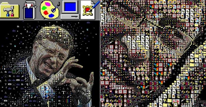 Портрет взрослого Билла Гейтса (Bill Gates) из иконок-символов