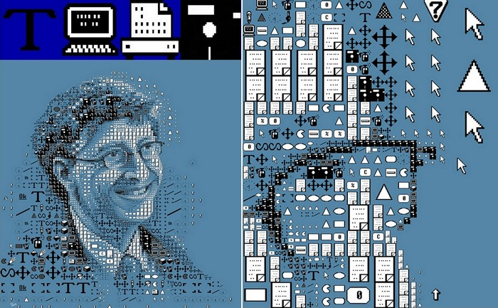 Портрет Билла Гейтса (Bill Gates) из иконок-символов