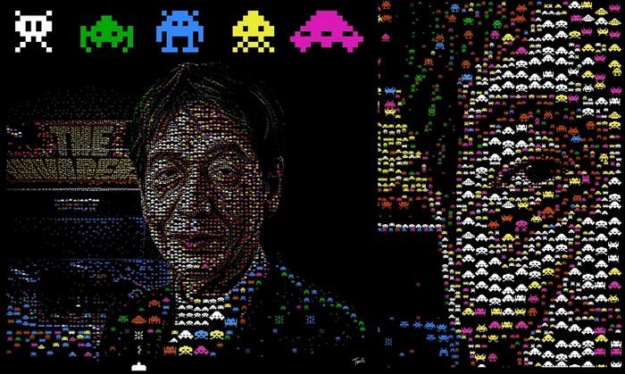 Портрет из иконок-символов. Томохиро Нишикадо (Tomohiro Nishikado), создатель игры Space Invaders