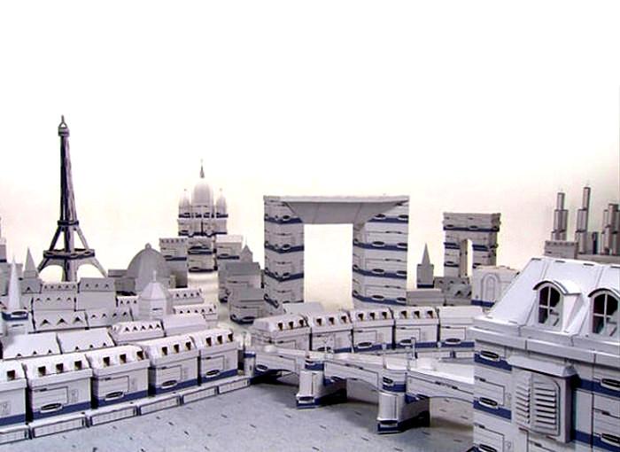 Картонные города и достопримечательности. Скульптуры Криса Гилмора