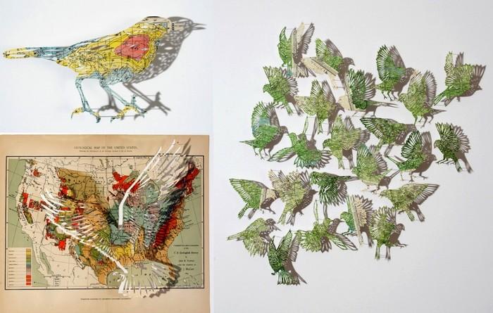 Изящные бумажные фигуры из атласов и карт