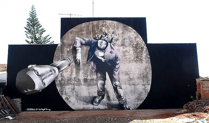 Арт-бомбинг Клаудио Этоса (Claudio Ethos) на улицах Бразилии
