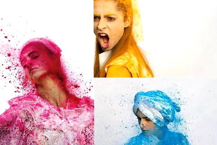 Color me crazy, красочный арт-проект с моделями и яркой пудрой