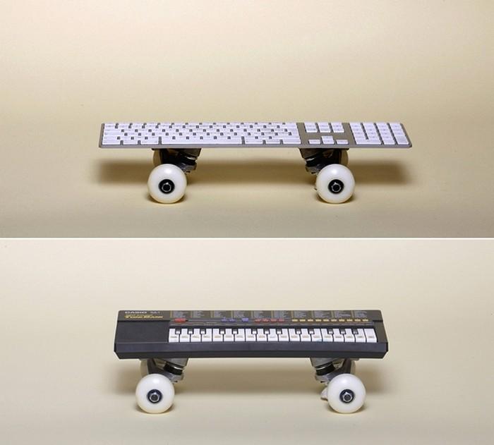 Необычные скейтборды с кнопками и клавишами. Арт-проект Артура Кинга