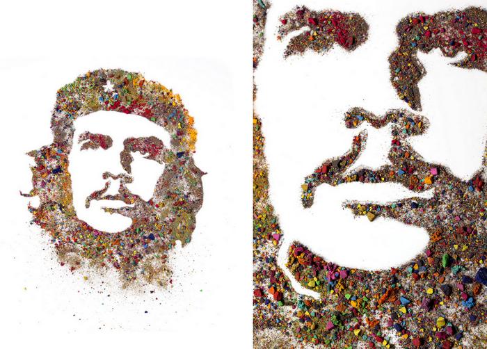 Портреты из раскрошенной акварели. Че Геваре из серии Crushed Watercolor Portraits