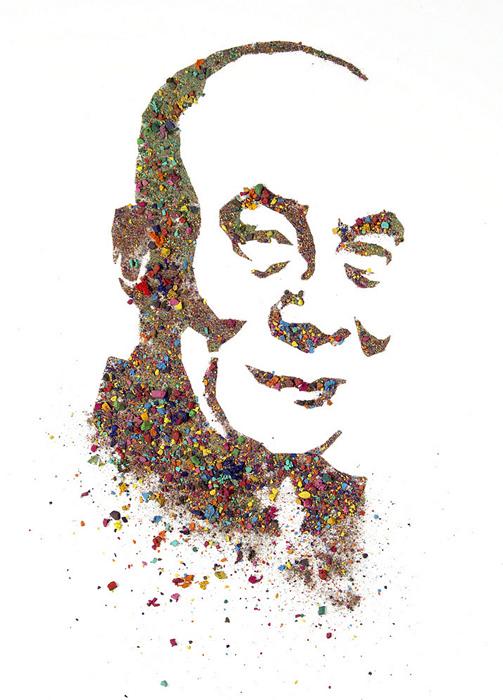 Портреты из раскрошенной акварели. Далай-лама из серии Crushed Watercolor Portraits