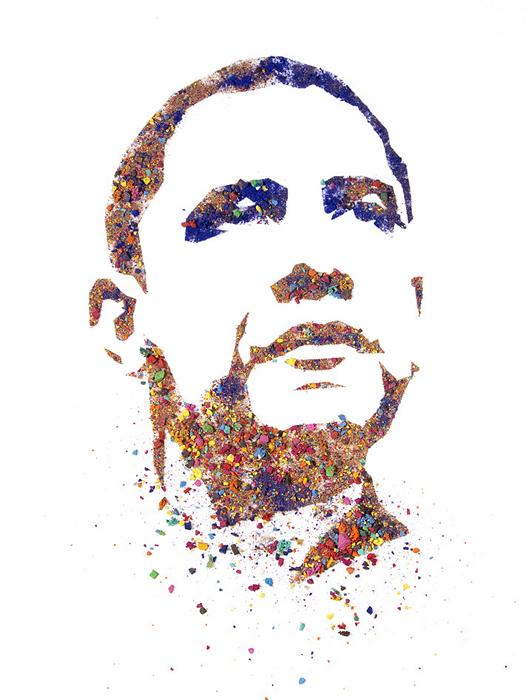 Портреты из раскрошенной акварели. Барак Обама из серии Crushed Watercolor Portraits