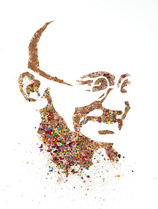Портреты из раскрошенной акварели. Махатма Ганди из серии Crushed Watercolor Portraits