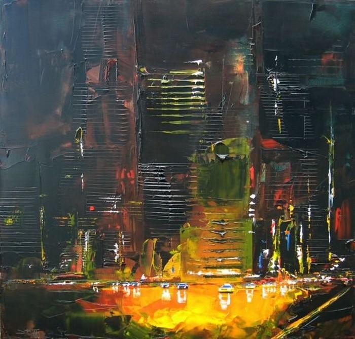 Городской пейзаж, нарисованный мастихином. Картины Даниэля Кастана