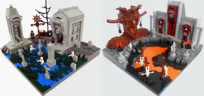 Восьмой и девятый круги ада из кубиков Лего
