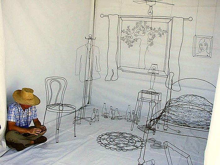 My Room, самая известная проволочная инсталляция от Дэвида Залбена (David Zalben)