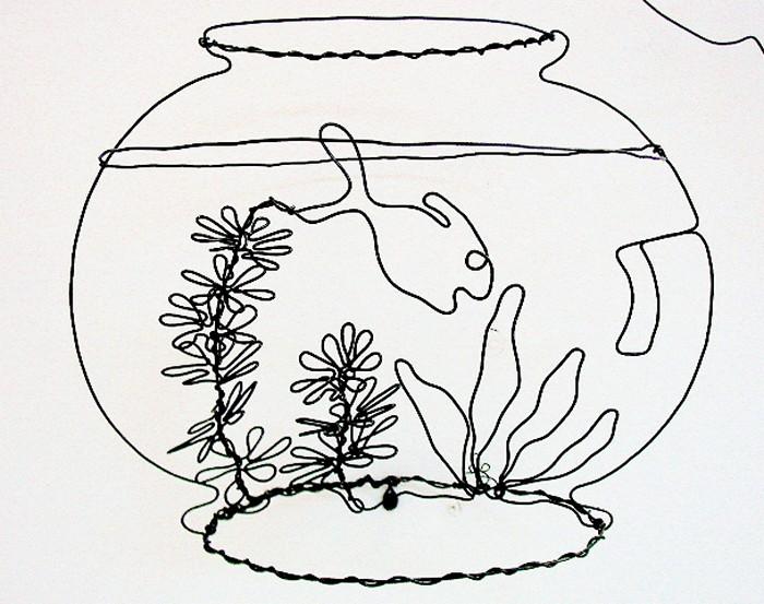 Проволочный аквариум, скульптура Дэвида Залбена (David Zalben)