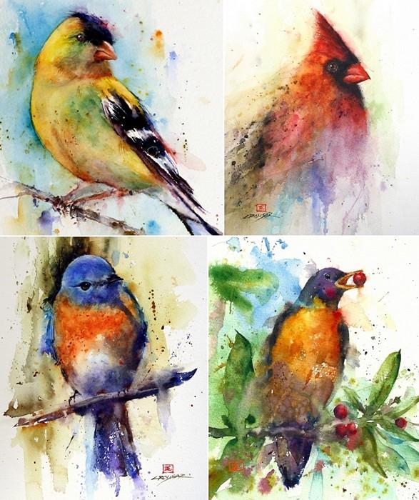 Звери и птицы в красочных акварелях Дина Крузера (Dean Crouser)