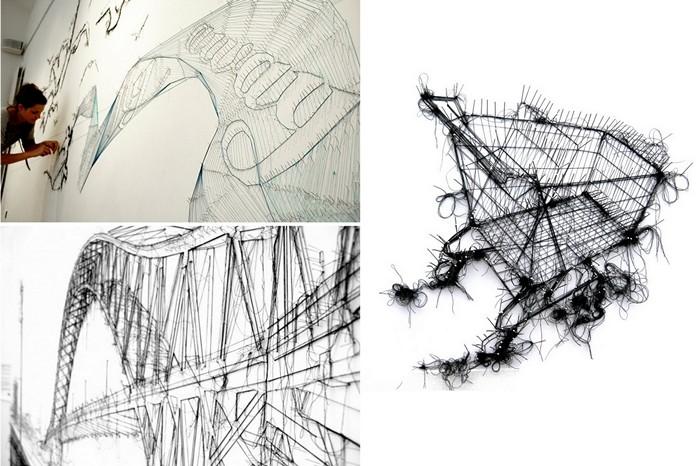 Картины-инсталляции Дебби Смит (Debbie Smyth) из ниток и булавок